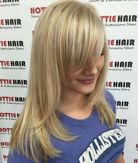 Blonde Bangs Side Long Highlights Very Swept Shape Model Lowlights