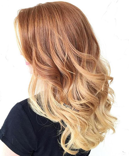 Ombre Blonde Strawberry Balayage Waves