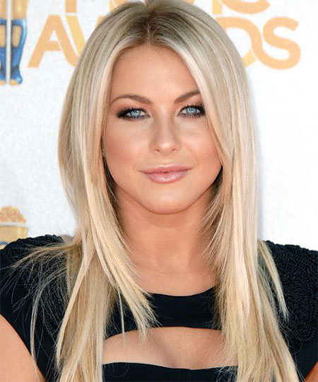 Blonde Julianne Hough Straight Round Part Long Faces