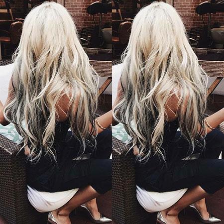 Blonde Platinum Underneath Lowlights Long