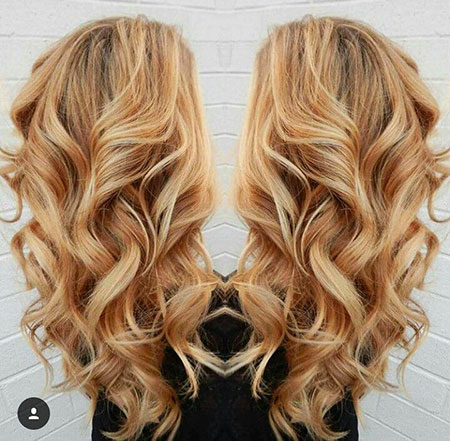 Blonde, Ombre, Honey, Highlights, Golden, Curls, Caramel