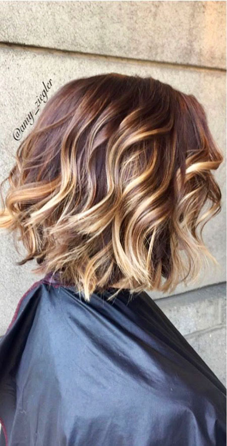 Balayage, Ombre, Wavy, Side, Shoulder, Shaggy, Light, Length