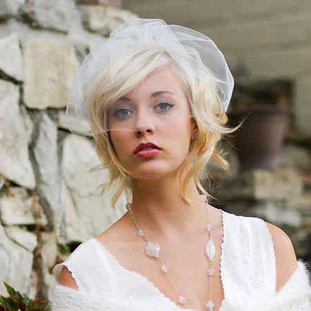 Wedding, Veil, Silver, Short Hairstyles, Modern, Medium, Length