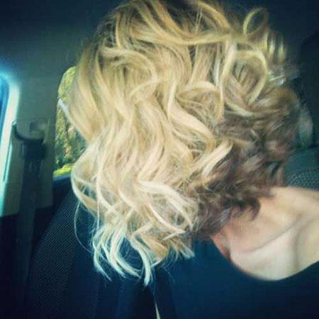 Short, Curly, Inverted, Bob, Blonde, Women, Trends