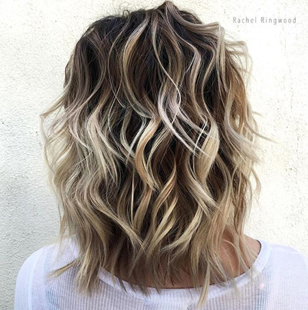 Blonde, Balayage, Medium, Brown, Shag, Ombre, Woman