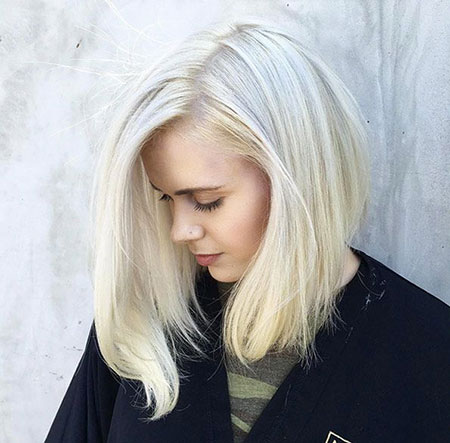 Blonde, Platinum, Lob, Women, Wavy, Textured, Tapered, Swept, Side
