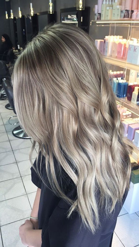 Blonde Ash Balayage Pretty Vibrant Long Icy Golden Colour
