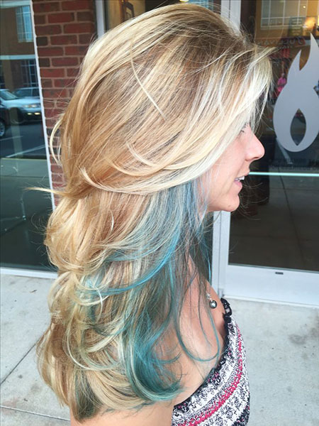 Blonde Balayage Highlights Teal Streaks Long Layers