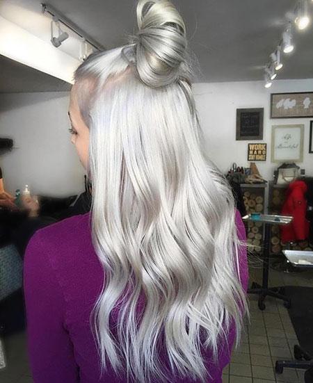 Silver, Knot, Silky, Platinum, Blonde, Balayage