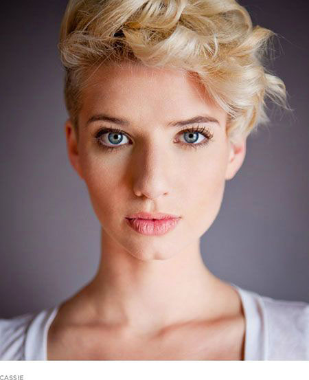 Short Hairstyles, Pixie Cut, Curly, Women, Blonde Hairstyles