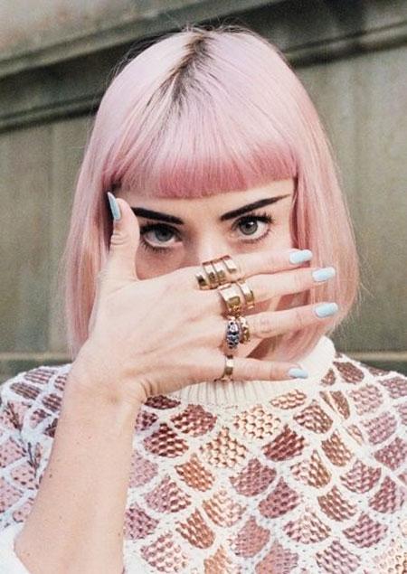Pink, Short Hairstyles, Women, Pixie Cut, Pastel, Over, Dolls