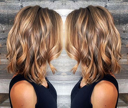 Women, Short, Balayage, Wavy, Thick, Summer, Sleek, Ombre