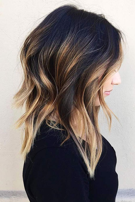 Balayage, Medium, Sexy, Dark, Trendy, One, Ombre, Long