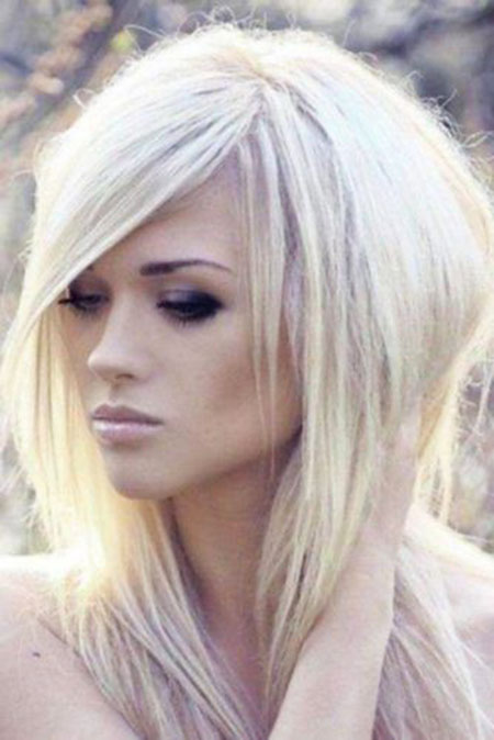 Blonde, Platinum, Short, Medium, Length, Layered, Fun