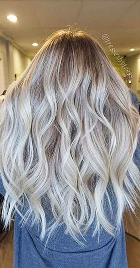 Blonde, Balayage, Ash, White, Long, Ladies