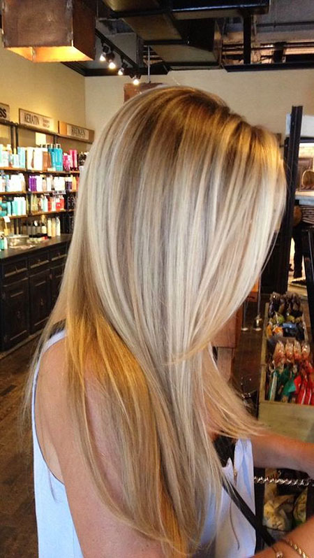 Blonde Balayage Straight Lowlights Long Highlights