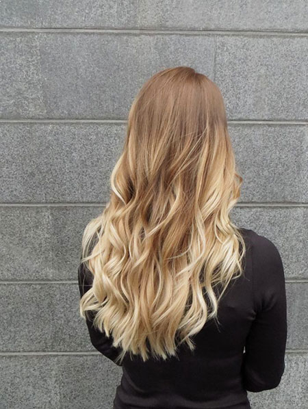 Blonde Ombre Balayage Natural Loose Long Highlights