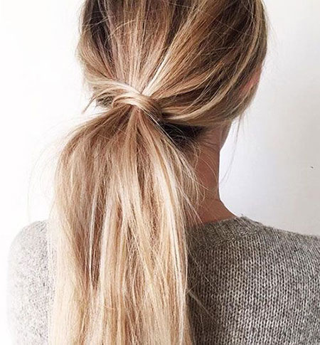Ponytail, Natural, Messy, Long, Knot, Easy, Classic, Blonde, Bad