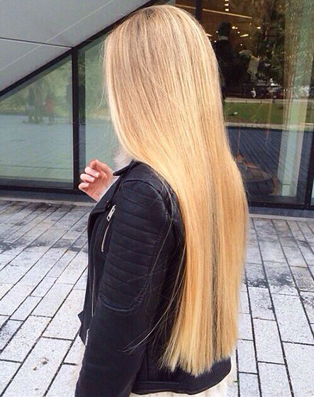 Blonde Long Straight Ombre Highlights Balayage