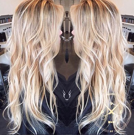Blonde, Long, Balayage, Wavy, Thin, Ponytails, Loose