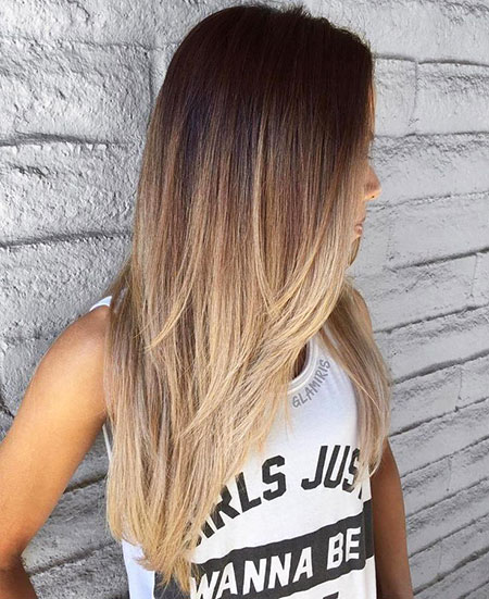 Ombre Long Layers Women Thick Length Layered Colour Brunette