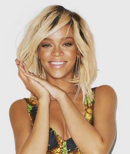 Medium, Length, Shoulder, Short Hairstyles, Rihanna, Choppy