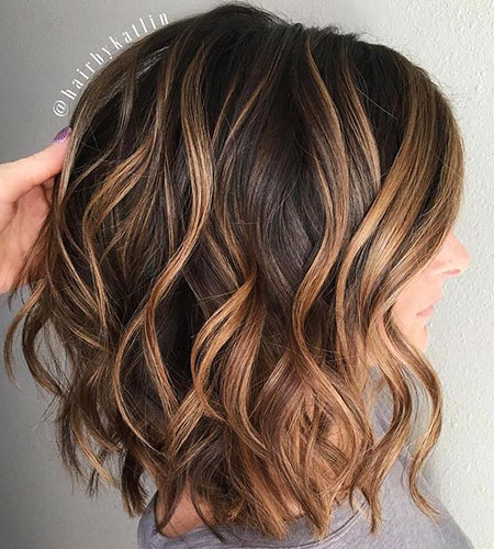 Highlights, Caramel, Balayage, Wavy, Blonde Bob Hairstyles, Waves, Lob, Golden