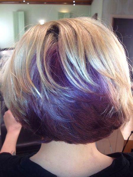 Short Hairstyles, Blonde Bob Hairstyles, Purple, Women