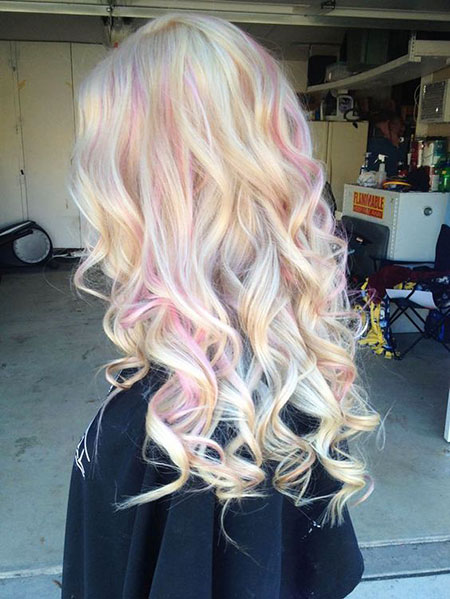 Blonde, Pink, Purple, Pastel, Medium, Length