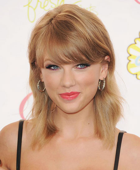 Taylor, Swift, Medium, Lob, Length, High, Celebrities, Bangs