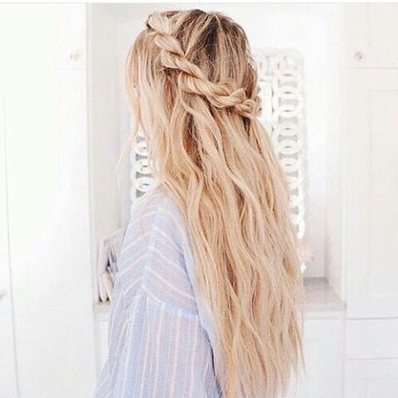 Braid Wavy Long Kassinka Blonde Up Tutorials Plait Half