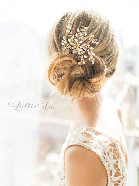 Wedding, Updo, Bridal, Vintage, Up, Pretty, One, Long, Gold, Flower
