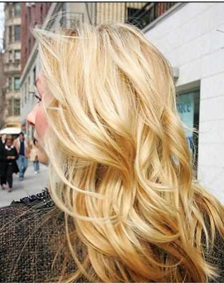 Blonde, Highlights, Golden, Curls, Waves
