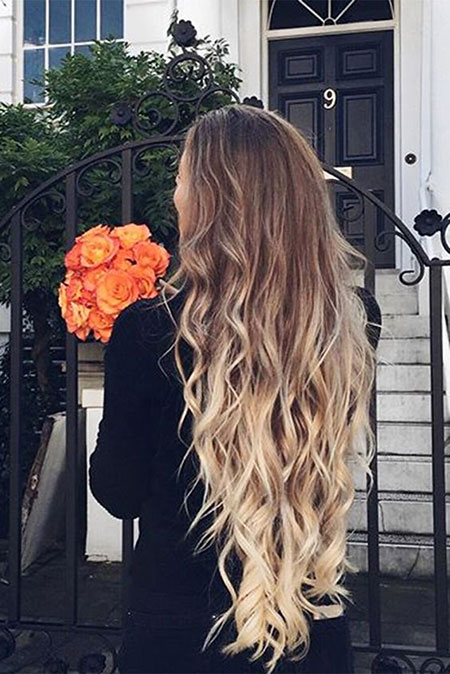Ombre Long Layered Blonde Curls Balayage