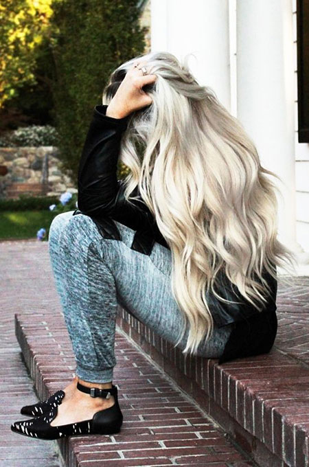 Blonde, Silver, Rapunzel, Locks, Light, Grey, Balayage
