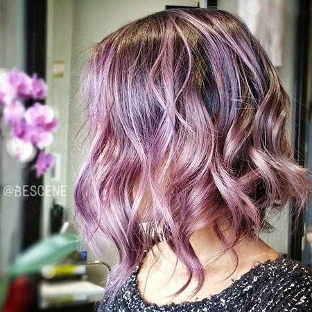 Purple, Blonde Hairstyles, Blonde Bob Hairstyles, 2017, Women, Wavy