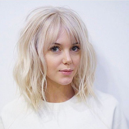 Bangs, Wavy, Short, Platinum, Long, Hairstyles, Fringe