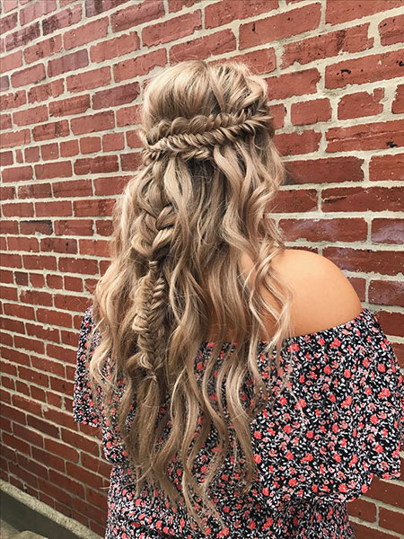 Braid, Long, Braided, Wedding, Waves, Up, Trendy, Half, Fishtail, Braids, Boho