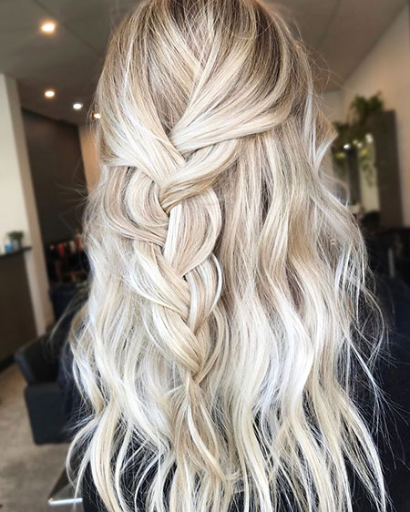 Blonde Balayage Ash Tones Textured Long Golden Girl Face Curls Colour