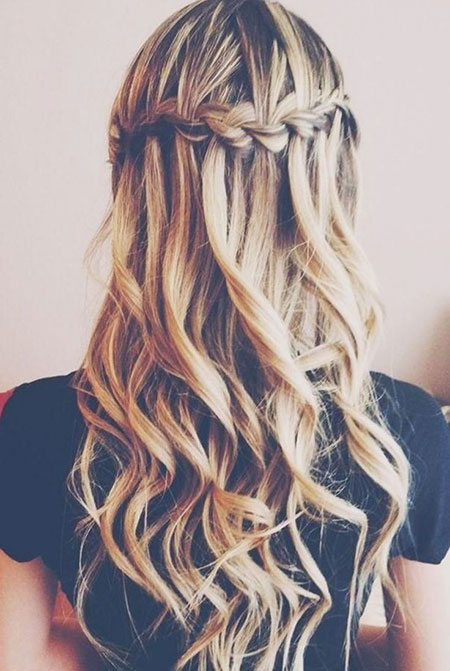 Waterfall Prom Trenza Long Graduation Girls Curly