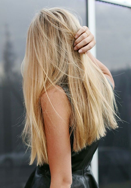 Long, Blonde, Straight, Blunt, Lob, Balayage, 205