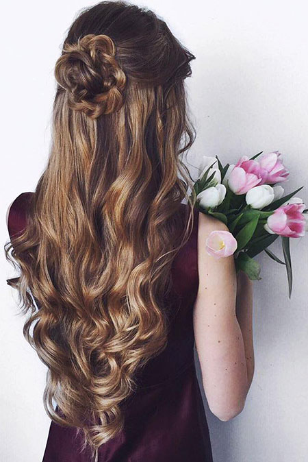 Up, Highlights, Half, Down, Women'S, Wedding, Waterfall