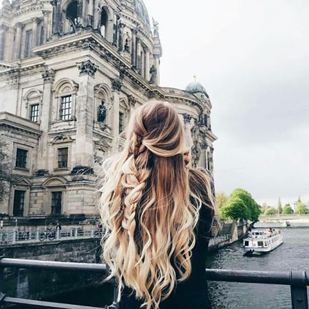 Long Braid Waterfall Ombre Loose Braided Blonde Back