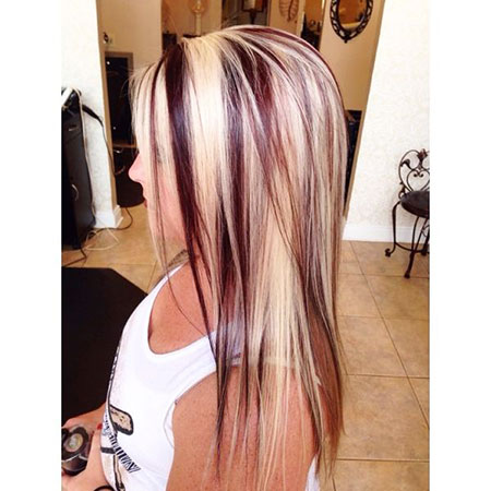 Blonde Highlights Red Lowlights Up Long Funky