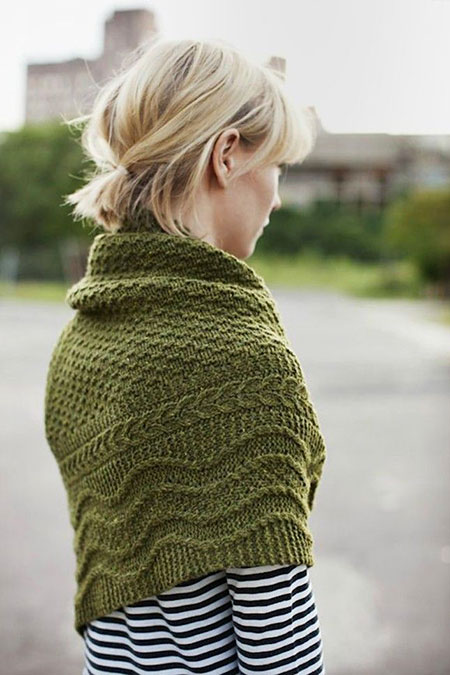 Short Hairstyles, Ponytail, Knitting, Women, Tweed, Sweater, Shawl