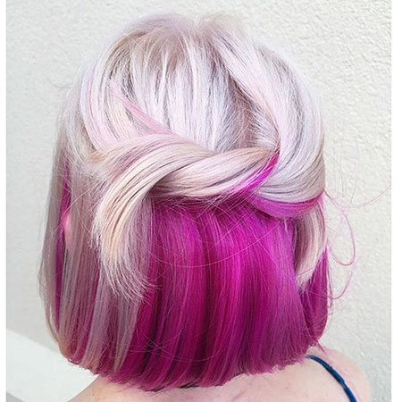 Purple, Short Hairstyles, Pink, Colored, Bright, Bold