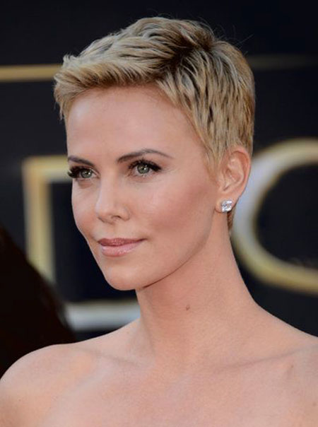Short Hairstyles, Theron, Pixie Cut, Charlize, Waves, Colour