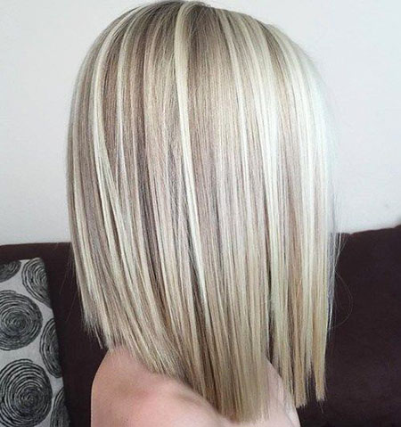 Blonde, Medium, Length, Highlights, Women, Wavy, Thick