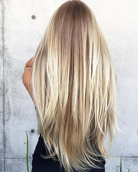 Blonde Long Highlights Balayage Year Platinum