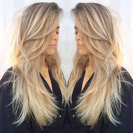 Blonde, Long, Layered, Balayage, Straight, Light, Layers